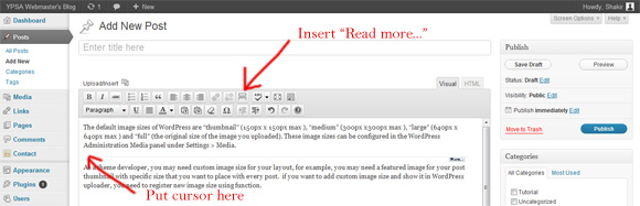 How to insert read more or continue reading